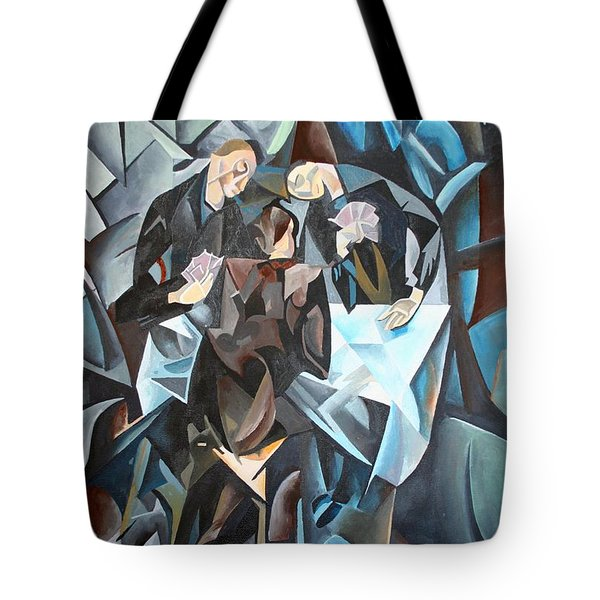 The Card Players Tote Bag by Tracey Harrington-Simpson