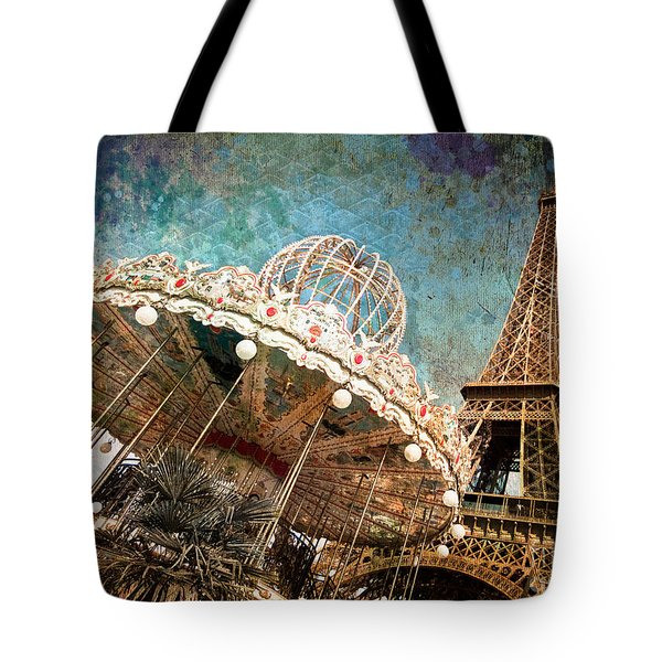 The Carrousel Of The Eiffel Tower Tote Bag by Delphimages Photo Creations