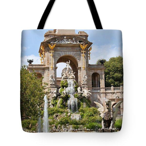The Cascada in Parc de la Ciutadella in Barcelona Tote Bag by Artur Bogacki