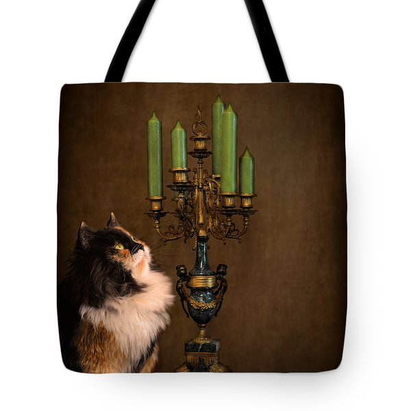 The Cat and the Candelabra Tote Bag by Jai Johnson