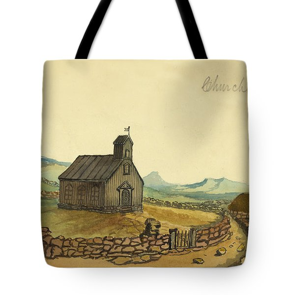 The Church At Thingvalla Iceland Circa 1862 Tote Bag by Aged Pixel