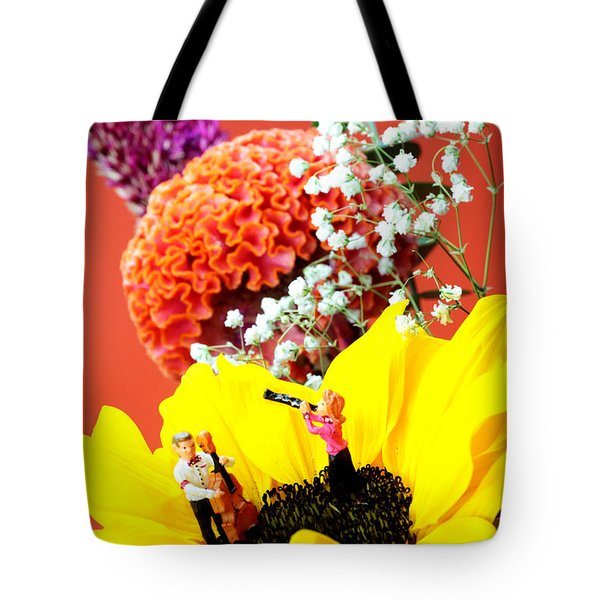 The Concert In The Flower Miniature Art Tote Bag by Paul Ge