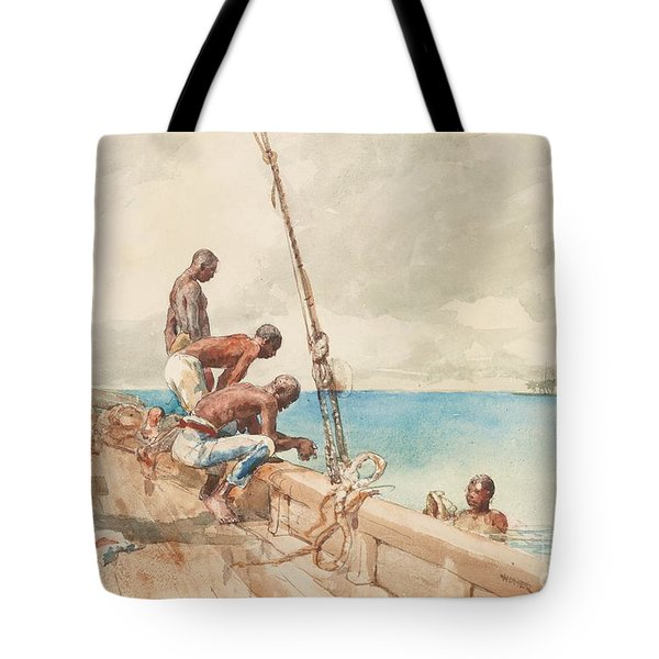 The Conch Divers Tote Bag by Winslow Homer