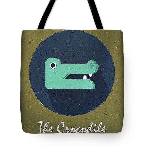 The Crocodile Cute Portrait Tote Bag by Florian Rodarte