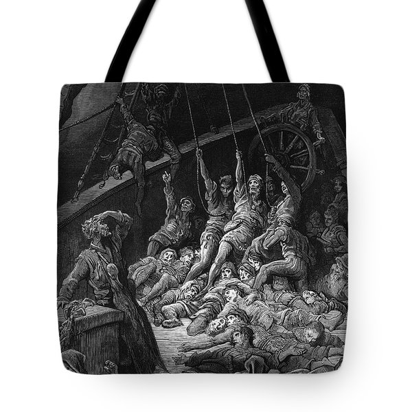 The Dead Sailors Rise Up And Start To Work The Ropes Of The Ship So That It Begins To Move Tote Bag by Gustave Dore