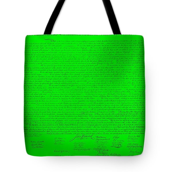 The Declaration Of Independence In Green Tote Bag by Rob Hans