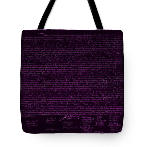 THE DECLARATION OF INDEPENDENCE in NEGATIVE PURPLE Tote Bag by ROB HANS