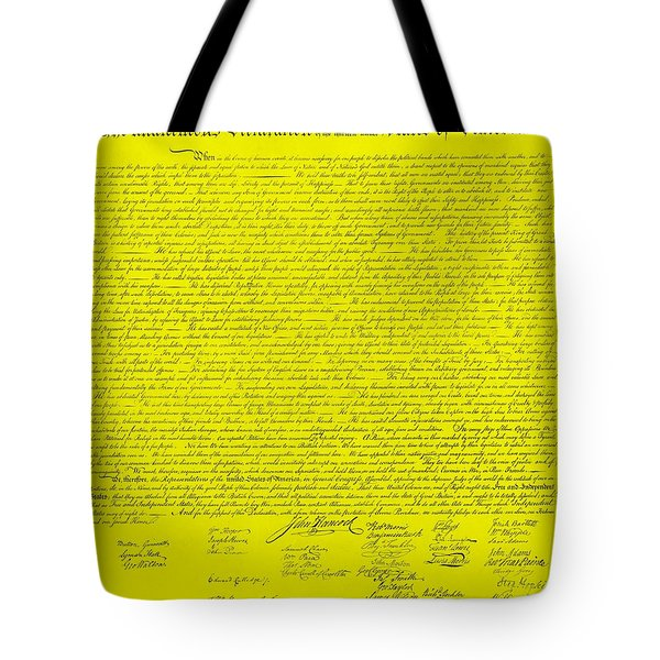 THE DECLARATION OF INDEPENDENCE in YELLOW Tote Bag by ROB HANS
