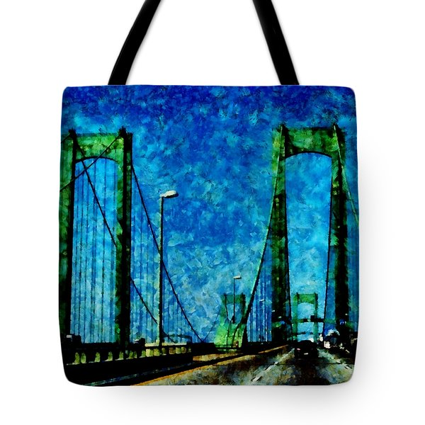 The Delaware Memorial Bridge Tote Bag by Angelina Vick