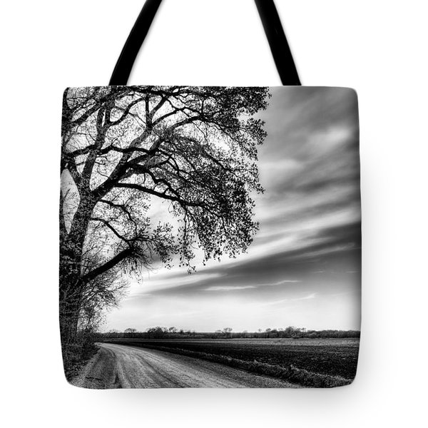 The Dirt Road in Black and White Tote Bag by JC Findley