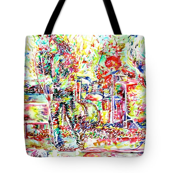 The Doors Live Concert Portrait Tote Bag by Fabrizio Cassetta