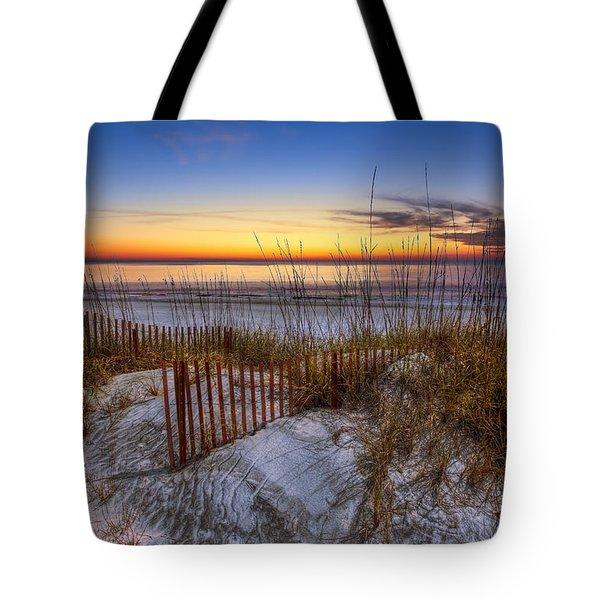 The Dunes At Sunset Tote Bag by Debra and Dave Vanderlaan
