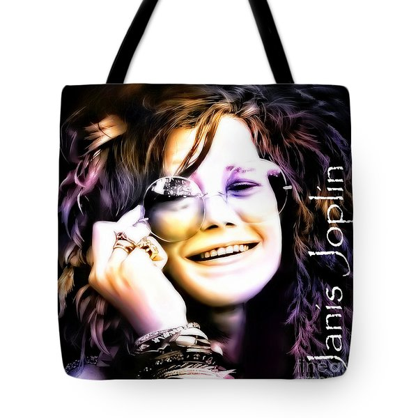 The Electric Janis Joplin Tote Bag by Barbara Chichester