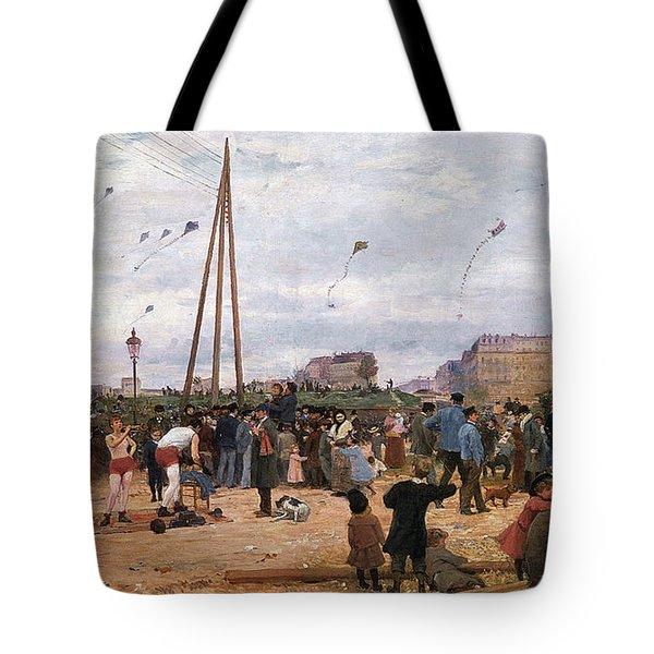 The Fairgrounds At Porte De Clignancourt Paris Tote Bag by Victor Gabriel Gilbert