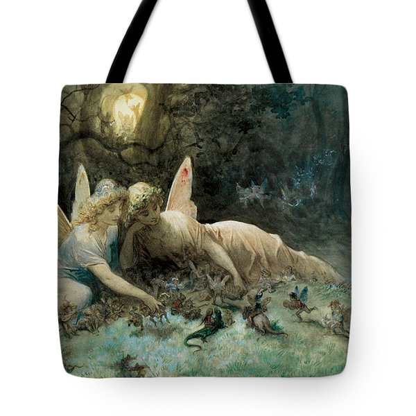 The Fairies From William Shakespeare Scene Tote Bag by Gustave Dore