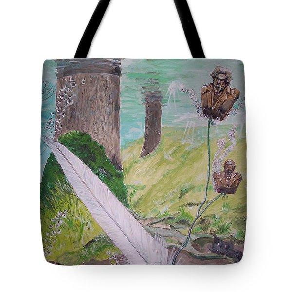 The Feather And The Word La Pluma Y La Palabra Tote Bag by Lazaro Hurtado
