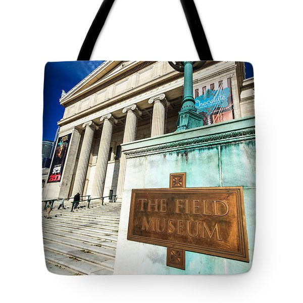 The Field Museum Sign In Chicago Tote Bag by Paul Velgos