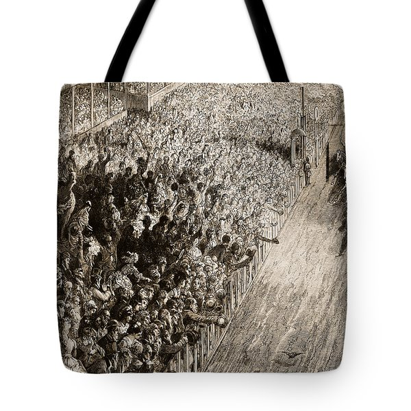 The Finishing Line Of The Derby Tote Bag by Gustave Dore