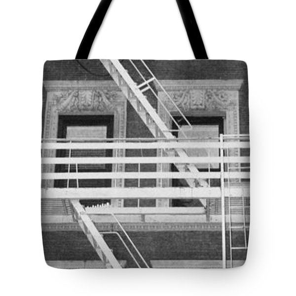 The Fire Escape In Black And White Tote Bag by Rob Hans