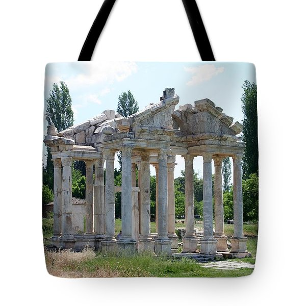 The Four Roman Columns Of The Ceremonial Gateway  Tote Bag by Tracey Harrington-Simpson