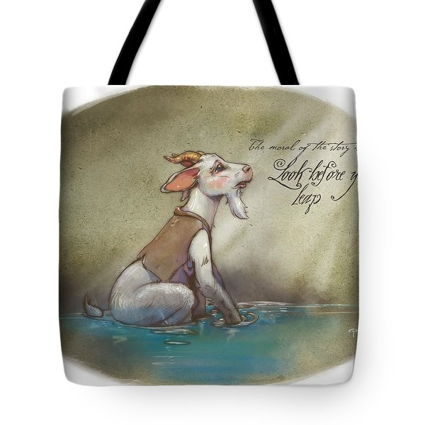 The Fox And The Goat Iv Tote Bag by Ashraf Ghori