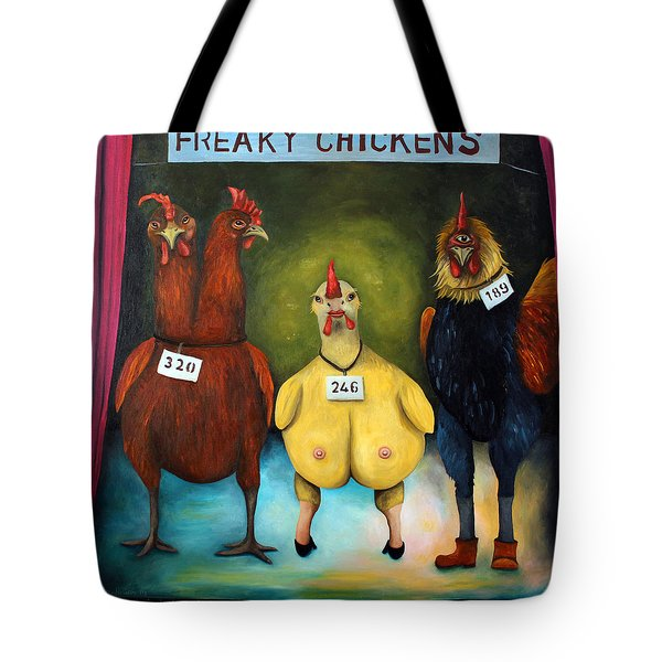 The Freaky Chicken Competition Tote Bag by Leah Saulnier The Painting Maniac
