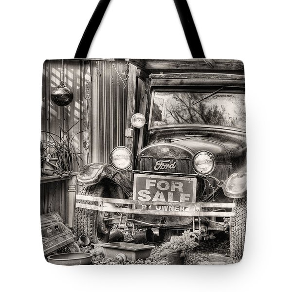 The Garage Sale Black and White Tote Bag by JC Findley