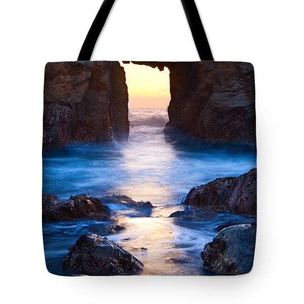The Gateway - Sunset On Arch Rock In Pfeiffer Beach Big Sur In California. Tote Bag by Jamie Pham