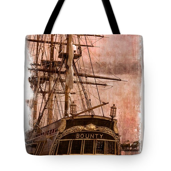 The Gleaming Hull of the HMS Bounty Tote Bag by Debra and Dave Vanderlaan