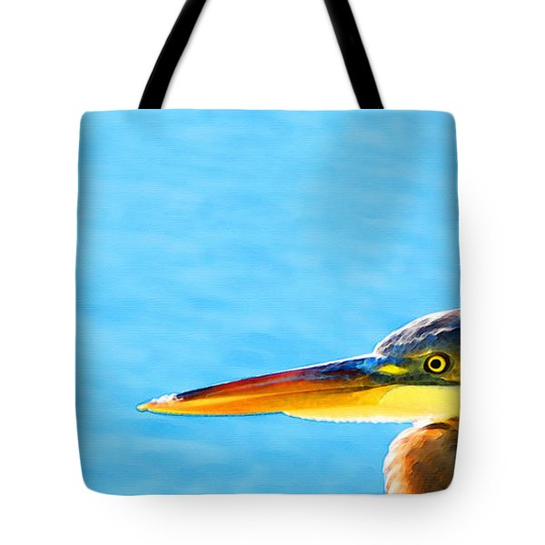 The Great One - Blue Heron By Sharon Cummings Tote Bag by Sharon Cummings