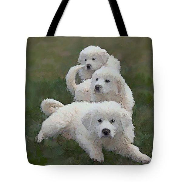 The Great Pyranise Pups Tote Bag by Bonnie Willis