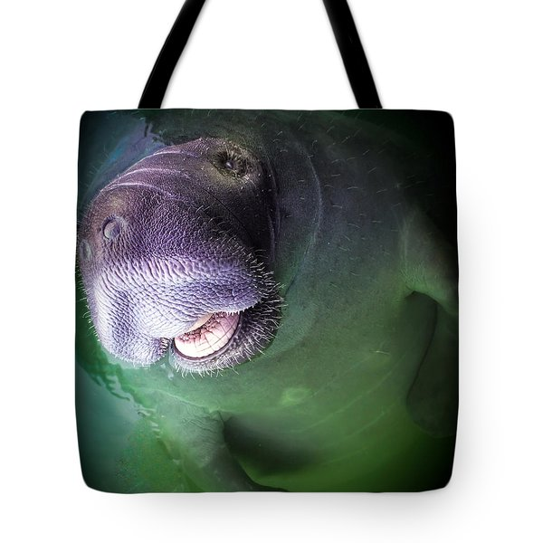 THE HAPPY MANATEE Tote Bag by KAREN WILES
