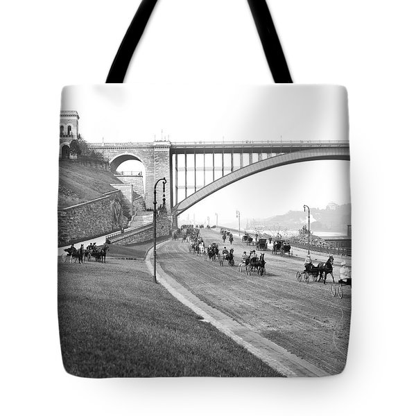 The Harlem River Speedway Tote Bag by Detroit Publishing Company