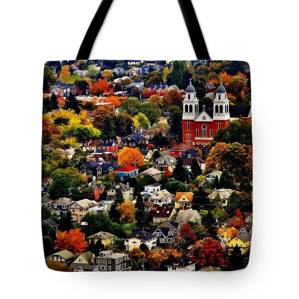 The Immaculate Conception Church Of Seattle Tote Bag by Benjamin Yeager