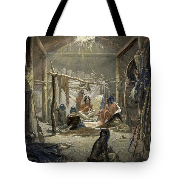 The Interior Of A Hut Of A Mandan Chief Tote Bag by Karl Bodmer