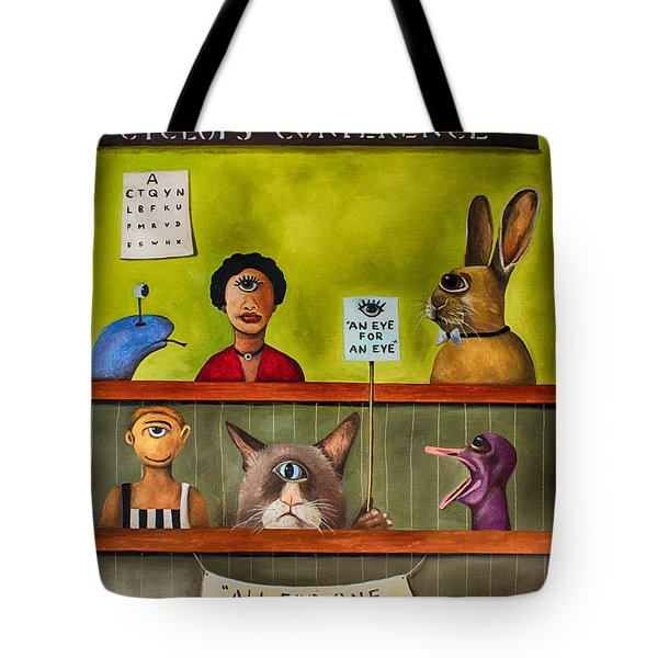 The International Cyclops Conference Edit 3 Tote Bag by Leah Saulnier The Painting Maniac