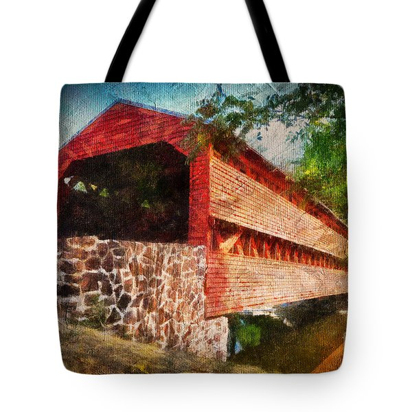 The Kissing Bridge Tote Bag by Lois Bryan