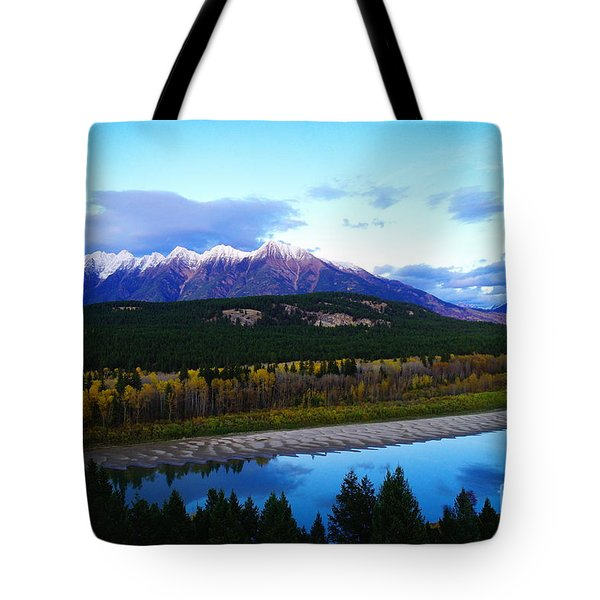 The Kootenenai River Surrounding The Canadian Rockies   Tote Bag by Jeff Swan