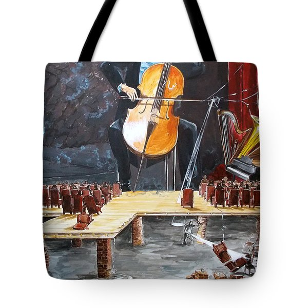 The Last Concert Listen With Music Of The Description Box Tote Bag by Lazaro Hurtado
