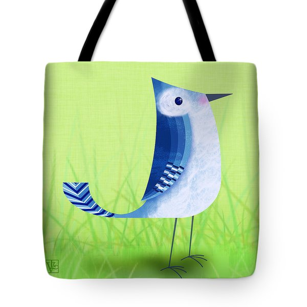 The Letter Blue J Tote Bag by Valerie   Drake Lesiak