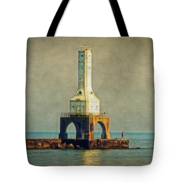 The Lighthouse And The Fisherman Tote Bag by Mary Machare
