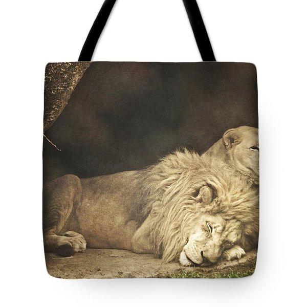 The Lion Sleeps Tonight Tote Bag by Trish Tritz