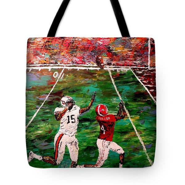 The Longest Yard - Alabama Vs Auburn Football Tote Bag by Mark Moore