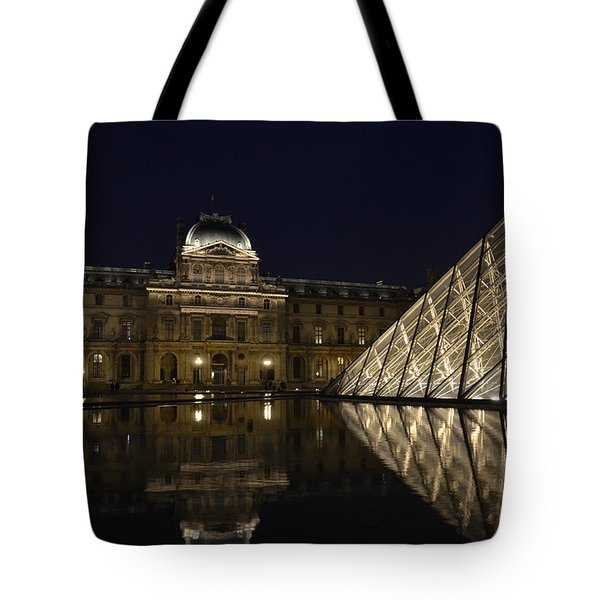 The Louvre Palace And The Pyramid At Night Tote Bag by RicardMN Photography