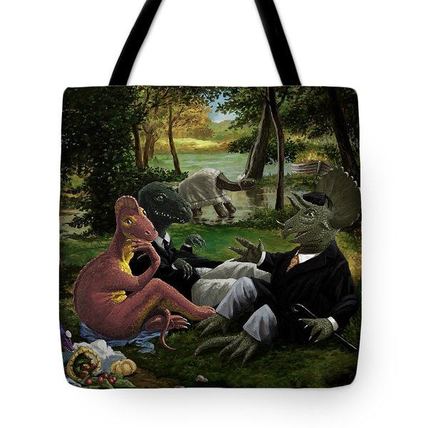 The Luncheon On The Grass With Dinosaurs Tote Bag by Martin Davey