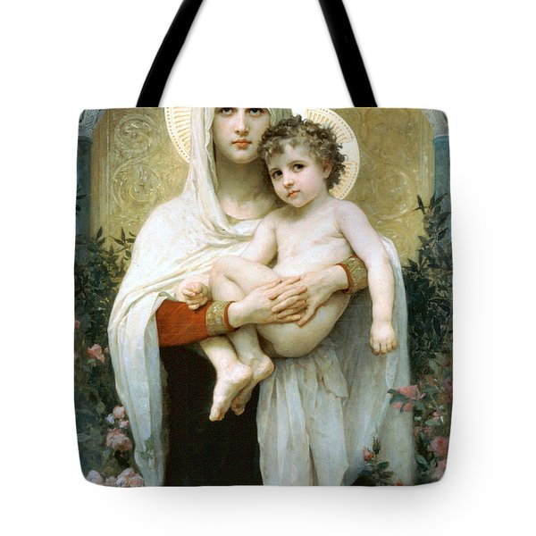 The Madonna Of The Roses Tote Bag by William Bouguereau