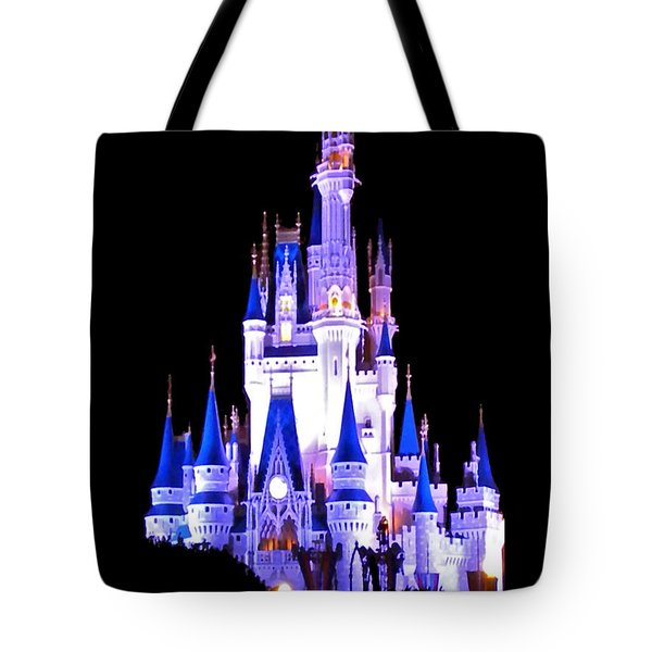 The Magic Kingdom Castle In Blue And Purple Walt Disney World Fl Tote Bag by Thomas Woolworth