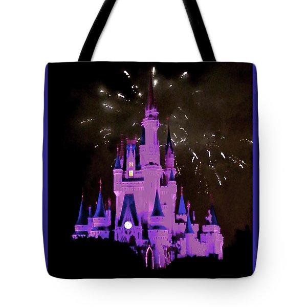 The Magic Kingdom Castle In Violet Walt Disney World Fl Tote Bag by Thomas Woolworth