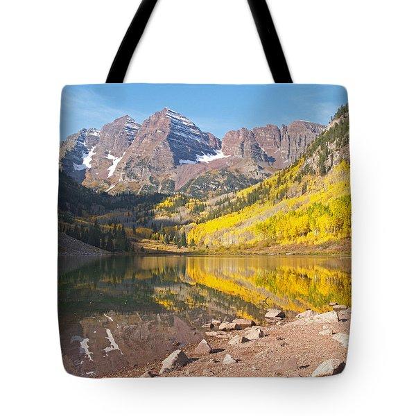 The Maroon Bells Near Aspen Colorado Tote Bag by Alex Cassels