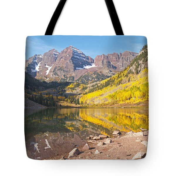 The Maroon Bells Near Aspen Colorado Tote Bag by Alex Cassels